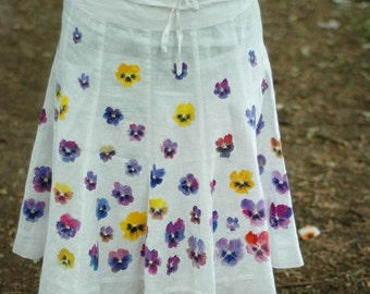 Hand-painted 100% linen skirt with pansies size 40 (US 8)