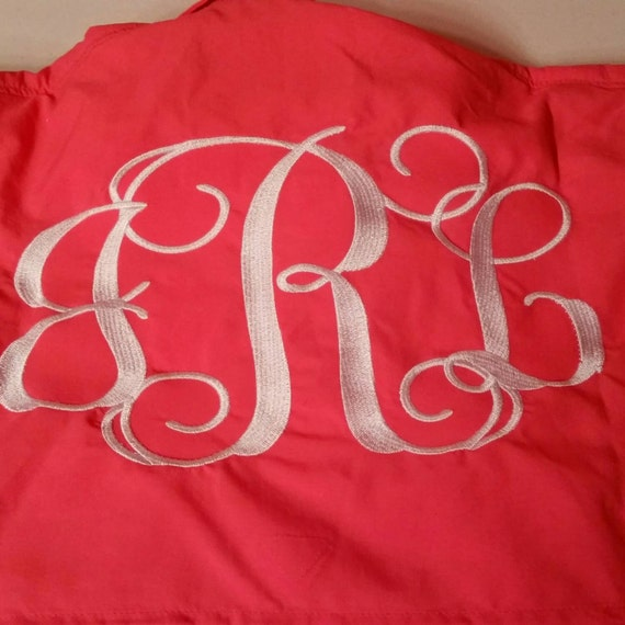 3 letter big fancy monogram columbia fishing by for Embroidered columbia fishing shirts