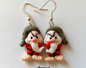 The seven dwarfs dwarves Grumpy Snow-White Earrings Handmade Fimo