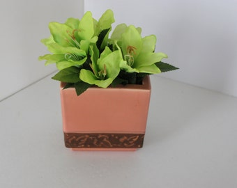 Tan and Brown Rectangular Vintage Vase