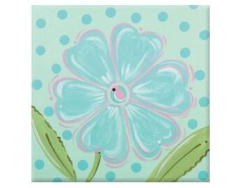 aqua flower canvas-nursery wall art-  art for kids rooms -art for girls - modern kids art -  floral kids art- baby gift- shower gift