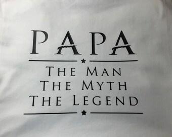 Papa the man the Myth the legend shirt, Grandpa shirts, Men's Tshirts