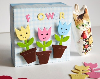 Paper Flower Favor Box Kit, candy box, DIY Paper toy for kid