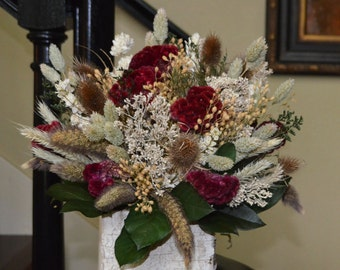 Dried Flower Arrangement Centerpiece with Burgundy Coxcomb and Mixed Neutral Grains and Flowers