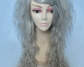 Die Pretty Crimped Hime Gyaru Layered Wig in Platinum Gray
