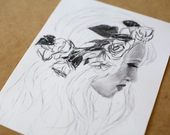 "Original Charcoal Drawing - Female Portrait ""Flower Wreath"""