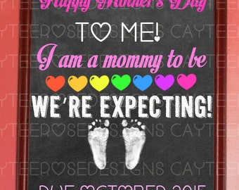 Mother's Day Mommy to Be Chalkboard Pregnancy Annoucement