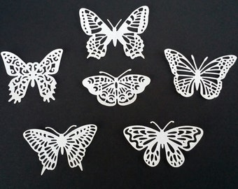 Edible White Lacy Shimmering Wafer Butterfly/ Cake/Cupcake Topper.Set of 12