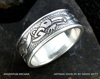 Viking Wolf Ring Sterling Silver Viking Ring Celtic