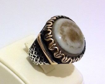 925 Sterling Silver Men's Ring Mossy Agate Stone With Artisan Handwork