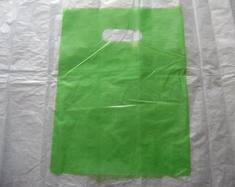 10 pack 9X12 Lime Green Merchandise Bags Glossy Handles Low Density Handle Gift Bags