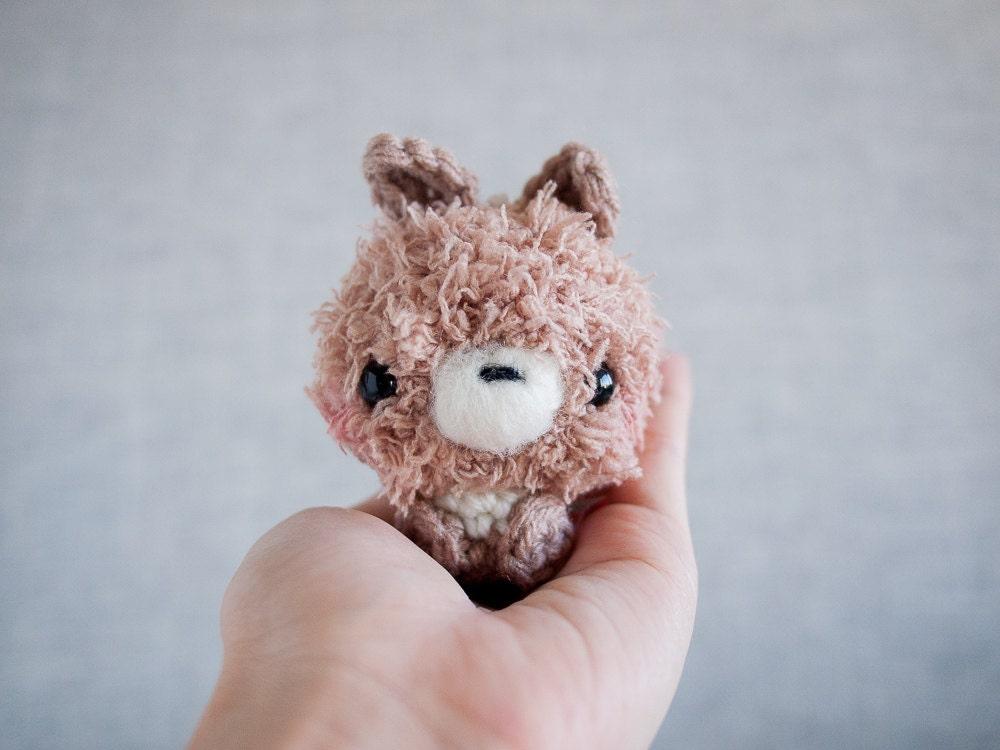 Amigurumi Bunny Keychain : Amigurumi Bunny Stuffed Plush Keychain Brown Bunny Kawaii