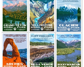 Get 6 National Park Posters, Save 45 Dollars, Free Priority Shipping in a Flat Mailer