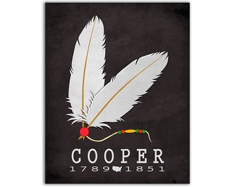 James Fenimore Cooper The Last of the Mohicans - Native Americans Indian Feathers Classroom Book Art Reading Gift Ideas American Author