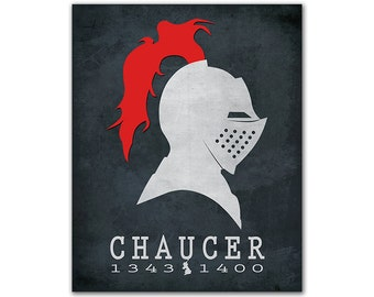 Geoffrey Chaucer Canterbury Tales - Knight Helmet Red Plumes Reading Gift Ideas Reading Room Decor Book Lover Gift English Author