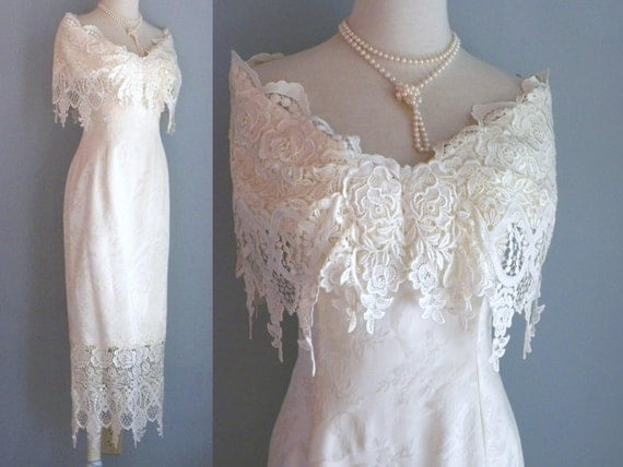 80s Edwardian Style Wedding Dress Boned Corset Cream Brocade