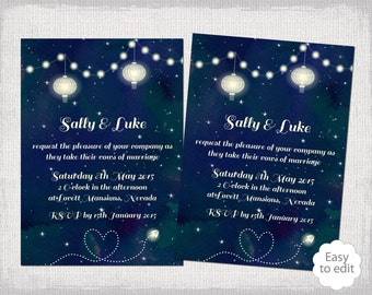 "Printable Wedding invitation template ""Starry Night"" navy garden party invitations YOU EDIT Star digital Word template Instant Download"