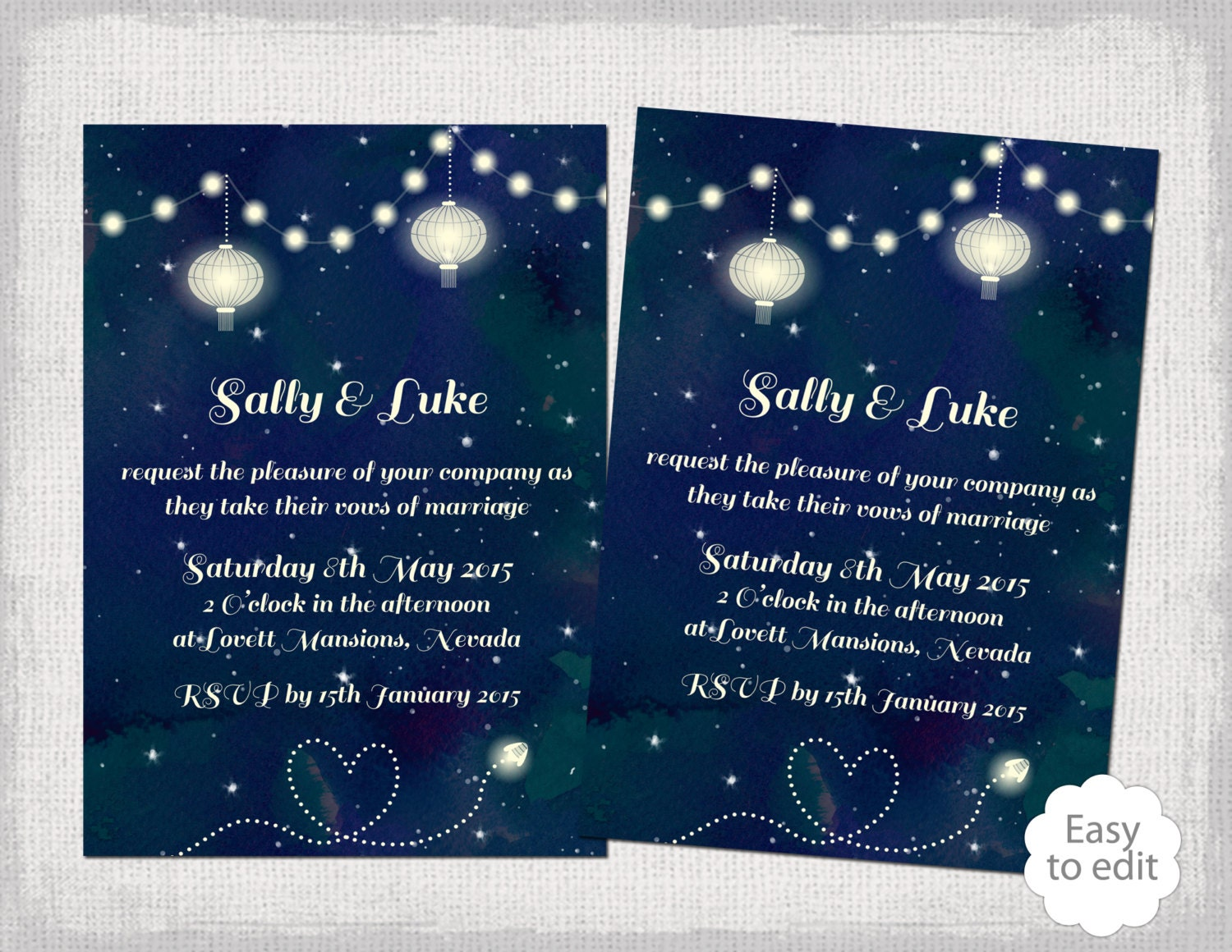 Printable Wedding invitation template Starry Night – In the Night Garden Birthday Invitations