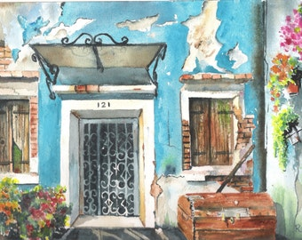 """Old  house in  Nicaragua. Watercolor. 10 X 14"""""""