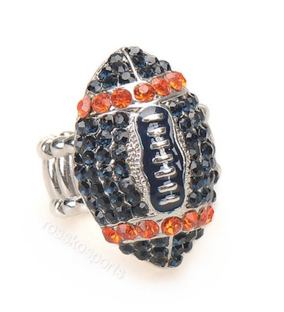chicago bears fan jewelry blue orange rhinestone by