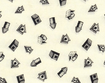 Bird House's Black and White Quilting Fabric,100% Cotton By the Yard