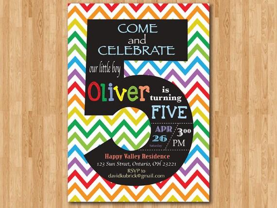 Rainbow 5th Birthday Invitation Colorful Chevron Birthday – 5th Birthday Party Invitation