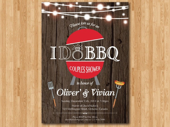 I Do BBQ Rustic Wedding Invitation