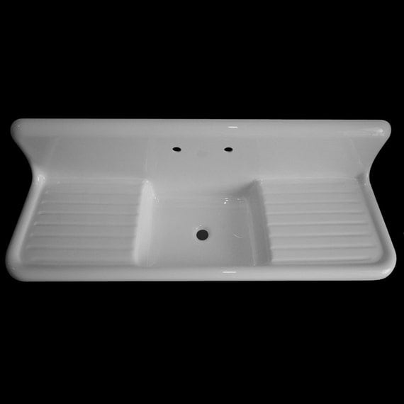 "60"" X 20"" Single Bowl, Double Drainboard Reproduction"