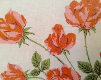 """Vintage 1950's Pink Roses NOS Summer Linen Tablecloth- so pretty, square, 50"""" x 51"""", Shower"""