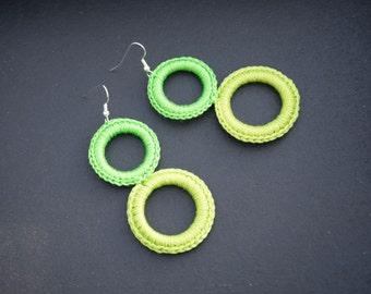 Handmade crochet earrings - green color - rings - very LIGHT!