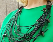 Leather Cord Necklace with Metal Accessories / Fine Black Leather Cord Necklace TLJ14