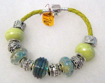 176 - Teal and Lime Beaded Bracelet