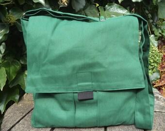 Grass-green canvas messenger bag,bike bag