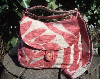 Leaves - fabric buttoned bag
