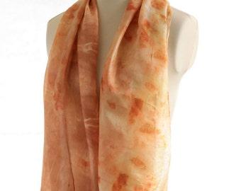 eco printed silk scarf, onion naturally dyed scarf, garden plants onion eucalyptus, botanical print, burnt orange autumn shawl eco dyed silk