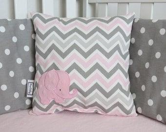 Chevron elephant pillow - COMPLETE PILLOW - Many Colors - Chevron and Minky Pillow - Elephant Pillow