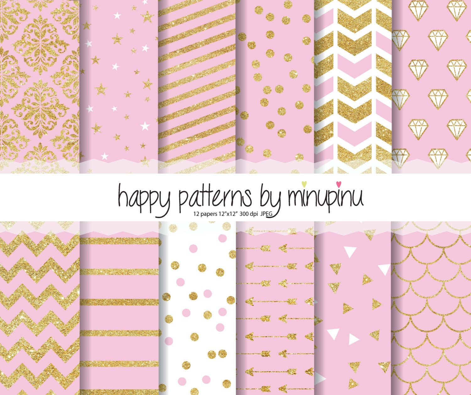 Pink And Gold Glitter Digital Papers Patterns On Background With Stars Diamonds Confetti Chevron Stripes Arrows Damask