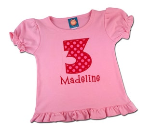 Girl's Birthday Shirt with Polka Dot Number and Embroidered Name