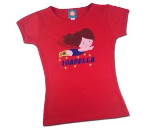 Girl's Superhero Birthday Shirt with Name in Stars