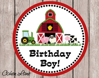 Instant Download Printable Birthday Boy Farm Tshirt Iron on Transfer Design. Barnyard Iron On Transfer.  Birthday Boy Iron on. Tractors.