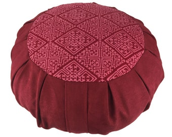 Zafu Meditation Cushion -Tribal Print - Wine
