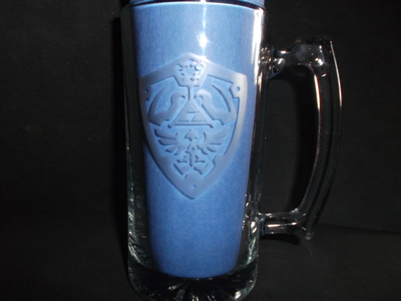 27oz Hylian shield etched mug