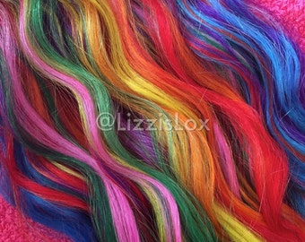 "RAINBOW Clip In REMY Human Hair Extensions 20"" Unicorn Hair Ombre Dip Dye Balayage Satisfaction Guarantee!"