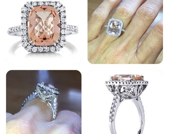 Morganite Engagement Ring Long Cushion Peach Morganite Wedding .97ct Natural Diamonds Halo Butterfly Ring Anniversary Pristine Custom Rings