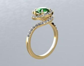 Emerald Ring 18k White Yellow Round 1.00ct Lab grown Yellow sapphire Center .41cttw FSI1 Round  Diamonds Engagement Ring Wedding Ring