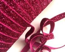 "Fuchsia Glitter Elastic 3/8"", you choose yards, wholesale, glitter, headbands, elastic, ribbon"