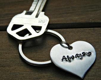 Always Keychain Couples Heart Keychain Stamped Keychain Set Couple Gift Valentines Wedding Anniversary Silver Custom Christmas Birthday Gift
