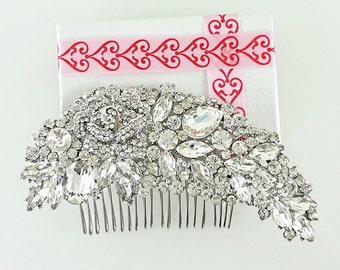 Bridal Hair Comb, Wedding Comb, Rhinestone Comb, Hair Accessories, Flower Comb, Rhinestone Clip, Wedding Hair Comb, Bridesmaid comb HC0005