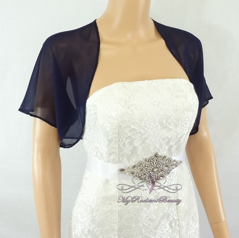Navy blue chiffon jacket bridal bolero wedding bolero for Dress jackets for wedding