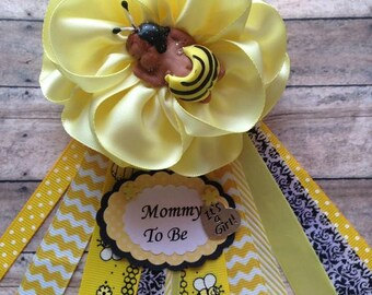 Mommy To Bee Corsage Theme Dad Be Baby Shower Its A Girl